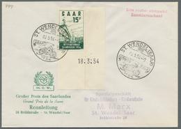 Saarland (1947/56): 1953-56, Sechs Frankierte Belege In Guter/sehr Guter Erhaltung, Alles Eckrand Mi - 1947-56 Allierte Besetzung