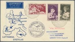 Saarland (1947/56): 1955, Volkshilfe 1953 Auf Lufthansa-Erstflugbrief, In Dieser Form Zum Glück Sehr - 1947-56 Allierte Besetzung