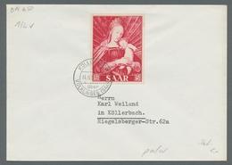 """Saarland (1947/56): 1954, """"Marianisches Jahr"""" 3 Werte Jeweils Als Portorichtige Einzelfrankatur Auf - 1947-56 Allierte Besetzung"""