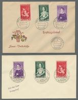 Saarland (1947/56): 1954, Volkshilfe-Satz Achtmal Kpl. Mit Ersttagsstempelentwertung Auf 8 FDC-Umsch - 1947-56 Allierte Besetzung
