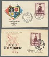 """Saarland (1947/56): 1955, """"Tag Der Briefmarke""""-Partie Von 8 FDC-Umschlägen. Enthalten Sind 6 Schmuck - 1947-56 Allierte Besetzung"""
