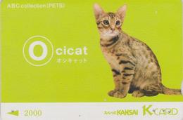 Rare Carte Prépayée Japon  - Série ALPHABET ABC PETS - ANIMAL - CHAT OCICAT - CAT  Japan Prepaid K Card - O - Gatos