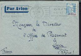 Algérie - 1947 - Affranchissement Marianne De Gandon 4,50 F Sur Enveloppe D'Oran Pour Lyon - B/TB - - Algerien (1924-1962)