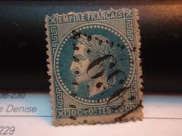 Timbre Empire Français 20 C. Napoléon III  Lauré   . N°29 B - 20 C Bleu, Type II, Oblitéré . Numéro 1959 - 1863-1870 Napoleone III Con Gli Allori