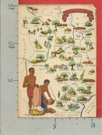 CARTOLINA NV REPUBBLICA CENTRAFRICANA - Cartina Geografica Illustrata - 10 X 15 - Repubblica Centroafricana