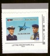 Timbre Adhésif Personnalisé Neuf Mon Timbre à Moi MTAM Philaposte Armée De L' Air Recrute Avion Soldat Militaire - France