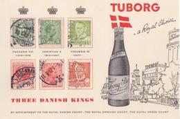 """CP Publicitaire De La Brasserie Tuborg (Bonne Année 1961), Porte-timbre """"les Trois Rois Danois"""" + Canette De Bière - Cervezas"""