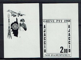 GREVE 1988 AJACCIO Paire De VARIETES ESSAI DE COULEUR ROTARY NAPOLEON CONCORDE - Strike Stamps