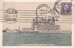 ELLIS ISLAND, NEW YORK HARBOR. USA CARTE POSTALE CPA CIRCULEE 1932 YONKER A BUENOS AIRES -LILHU - Ellis Island
