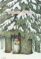 Elf - Brownie Standing Under The Tree In The Snowy Woods - Forest - Lennart Helje - Navidad