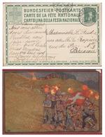 Zwitserland Schweiz La Suisse SWITZERLAND EP Entier Postal Postwaardestuk Bundesfeier Postkarte - Roten-Kreuz - Interi Postali