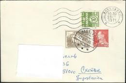 1971 Denmark Bagsvard Letter Via Yugoslavia - Wavy Lines 10 Ore & 1962 Cliffs On Moen Island - Denmark