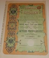 Titre Ancien- Tramways De Taschkent S.A. - Titre De 1911 - Chemin De Fer & Tramway