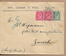 MALTA 1910 Cover Sent To Zurich 3 Stamps COVER USED - Malta (...-1964)