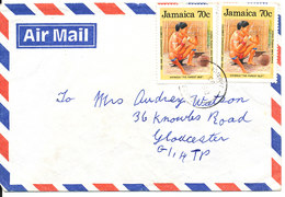 Jamaica Air Mail Cover Sent To England 7-12-1993 (the Flap On The Backside Of The Cover Is Missing) - Jamaica (1962-...)