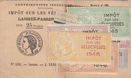FLERS PETITE CARTE LAISSER PASSER CONTRIBUTIONS IMPOT SUR LES VELOCIPEDES AVEC TIMBRES 1948 47 46 45 44 43 MR MEAU - Vélo