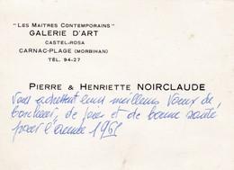 CARNAC CARTE DE VISITE GALERIE D ART DE PEINTURE NOIRCLAUDE ANNEE 1961 - Cartes De Visite