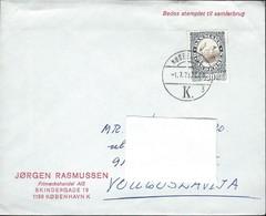 1976 Denmark Letter Via Yugoslavia - 1975 The 100th Anniversary Of The Death Of H.C. Andersen - Writer,birds - Denmark