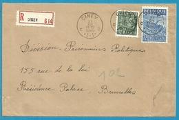 768+771 Op Brief Aangetekend Stempel CINEY (VK) - 1948 Export