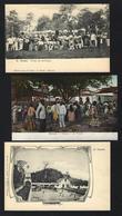 Conjunto De 3 Postais Antigos De SÃO TOMÉ E PRINCIPE Mercado. Set Of 3 Old Postcards Saint Thomas And Prince AFRICA - Sao Tome En Principe