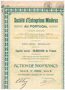 Titre Ancien - Société D'Entreprises Minières Au Portugal - Titre De 1929 - N° 24276 - Mines