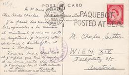 "656 - POST CARD ""S.S. NIEUW AMSTERDAM"" Del 31 Marzo 1953 Da Southampton A Vienna , - 1952-.... (Elizabeth II)"
