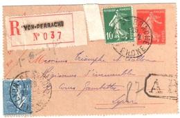 LYON PERRACHE Entier Postal Recommandé AR 10c 5c Semeuse 1F Bleu Yv 137 205 135-CL Ob 25 2 1927 - Enteros Postales