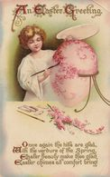 Angel Painting Easter Egg Antique Postcard - Greetings From...