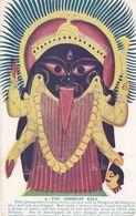 Goddess Kali Bengal Demon Head Decapitation Skeleton Old Hindu Postcard - India