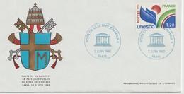 """Service                 """" PARIS  Visite De Sa Sainteté Le PAPE JEAN PAUL II Au Siège De L' UNESCO""""  Cachet Bleu 2/6/1980 - Lettres & Documents"""