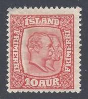 ICELAND 1907 FREDERIC VIII 10a Nº 52 * MH - 1873-1918 Dependencia Danesa