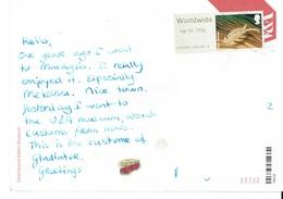26E : Great Britain Skeleton Fish Label Stamp Used On Armour Postcard - 1952-.... (Elizabeth II)