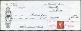 Great Britain 1966 Saccone & Speed (Gibraltar) Cheque Check Franked QEII 2d Stamp Used As Revenue Fiscal Tax UK GB - 1952-.... (Elizabeth II)