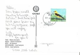 26E :Latvia Yellow Bird Stamp Used On Island Of Santorini Greece Postcard - Latvia