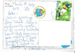 26E : French Polynesia Bird Stamp Used On Tahiti Sea Postcard - Briefe U. Dokumente