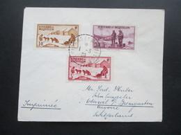 St. Pierre Et Miquelon 1939 Drucksache Mit 3 Marken In Die Schweiz Gesendet Mit Ak Stempel Oberwil Bei Bremgarten Aargau - Lettres & Documents