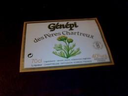 Étiquette Alcool Génépi Des Pères Chartreux Chartreuse De Voiron - Autres