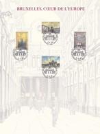 Exemplaire N°1 Feuillet Tirage Limité 500 Exemplaires Frappe Or Fin 23 Carats 2642 à 2645 Bruxelles Coeur De L'Europe - Feuillets De Luxe