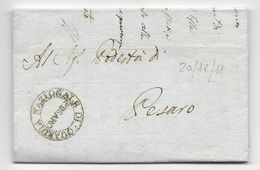 PERIODO NAPOLEONICO - DA PESARO PER CITTA' - 20.12.1811. - ...-1850 Voorfilatelie