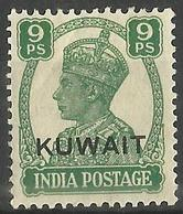 Kuwait - 1945 Overprint On India King George VI 9p MH *     SG  54   Sc 61 - Kuwait