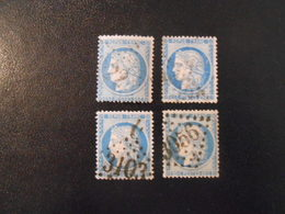 FRANCE YT60A  CERES 25c. Bleu Type III 4 Timbres Pour étude - 1871-1875 Ceres