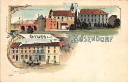 BOUZONVILLE Busendorf - Carte Litho - Rue Principale Magasin Cornille - Hôpital - Pont Et Moulin. - Autres Communes