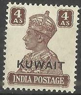 Kuwait - 1945 Overprint On India King George VI 4a MH *     SG  60   Sc 67 - Kuwait