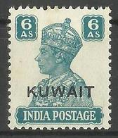 Kuwait - 1945 Overprint On India King George VI 6a MH *     SG  60a   Sc 68 - Kuwait
