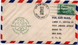 New York Shannon Dublin 1958 - 1er Vol Inaugural Flight Erstflug - Aerlinte Eireann - Trèfle - Lettres & Documents