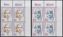 BRD, 1988  Nr. 1359, 1365 ** Frauen Der Deutschen Geschichte, 2 Viererblöcke Mit Eckrand Oben Rechts - Nuovi