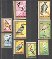 TT248 !!! IMPERFORATE 1965 BURUNDI FAUNA BIRDS AIR MAIL MICHEL #158-166 FULL SET MNH - Pájaros