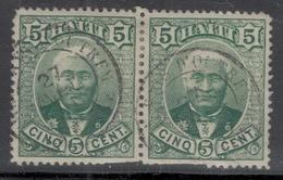 """Haïti. Président Salomon.Paire Du 5c """"PAYS D'OUTREMER 27 Mai 1891"""". Défectueux Mais Peu Courant. - Haïti"""