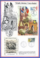 FRANCE - CARTE + ENVELOPPE HOMMAGE AU MARECHAL DE LATTRE MOUILLERON EN PAREDS + LIBERATION D ORBEC 1994/95 - Guerre Mondiale (Seconde)