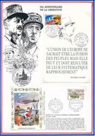 FRANCE - CARTE + ENVELOPPE 50EME ANNIVERSAIRE LIBERATION ROTS + 50 ANS PAIX EN EUROPE STRASBOURG 1994/95 - Guerre Mondiale (Seconde)